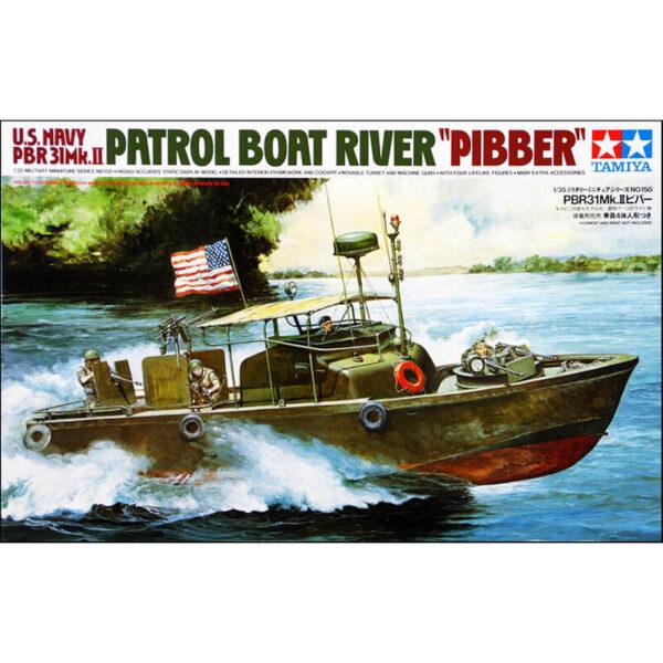 tamiya 35150 PBR 31Mk.II Patrol Boat River PIBBER 1/35 Kit en plástico para montar y pintar. Incluye 4 figuras y accesorios.