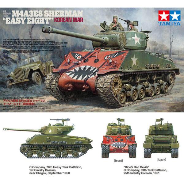 """tamiya 35359 U.S. Medium Tank M4A3E8 Sherman """"Easy Eight"""" 1/35 Korean War Kit en plástico para montar y pintar. Incluye torsos del comandante y el cargador. Hoja de calcas con 2 decoraciones."""
