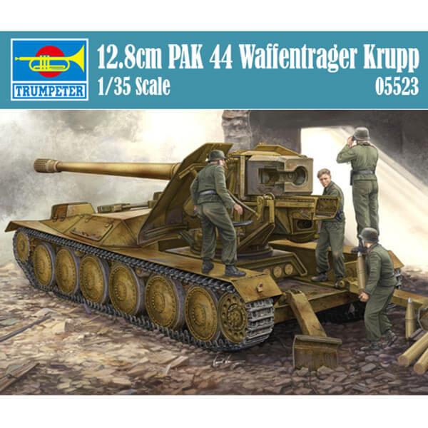 trumpeter 05523 12.8cm PAK 44 Waffentrager Krupp 1/35 Kit en plástico para montar y pintar. Incluye piezas en fotograbado, cañón torneado en metal y cadenas por eslabones individuales.