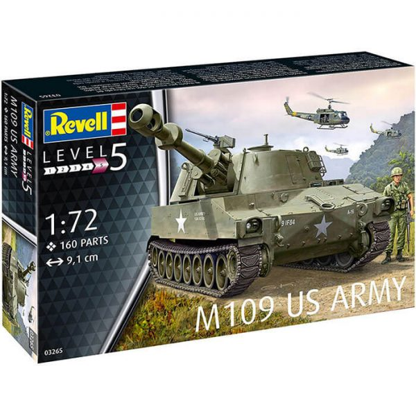 Revell 03265 US Army M109 1/72 Kit en plástico para montar y pintar. Cadenas por tramo y eslabón.