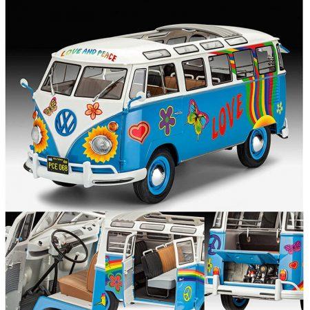 Revell 07050 Volkswagen VW T1 Samba Bus Flower Power 1/24 Kit en plástico para montar y pintar.