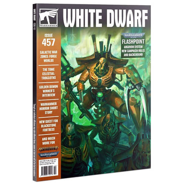White Dwarf nº 457 revista en Inglés La revista White Dwarf esta centrada en el universo de los juegos de Games Workshop, Warhammer,Warhammer 40k, Age of Sigmar, Warhammer Underworld, etc.