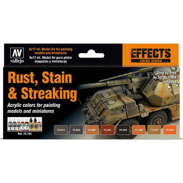 acrylicos vallejo AV70183 Rust, Stain & Streaking Efects Set Set de 8 pinturas acrílicas de las gamas Model Color y Model Air para representar los efectos de óxido sobre la superficie