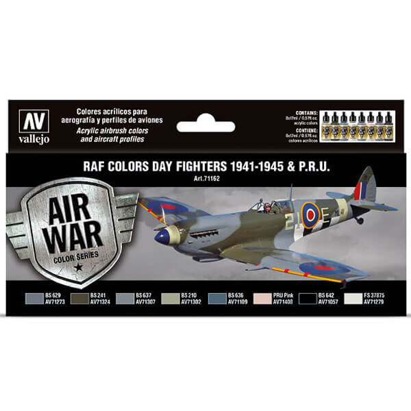 acrylicos vallejo av71162 RAF colors Day Fighters 1941-1945 & P.R.U. Estuche de 8 colores Model Air de 17ml desarrollado para pintar los caza diurnos de la RAF desde Agosto de 1941 hasta el final de la Guerra