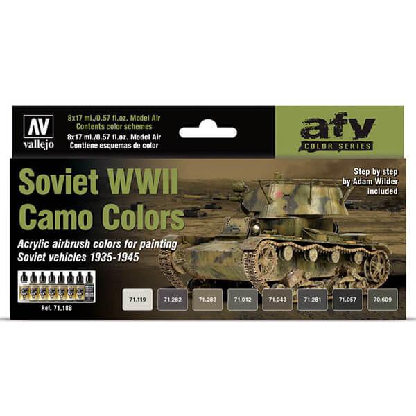 acrylicos vallejo av71188 Soviet WWII Camo Colors Set El set contiene 8 colores Model Air en 17 ml., para pintar los camuflajes de los tanques y vehículos sovieticos desde 1935 hasta 1945.