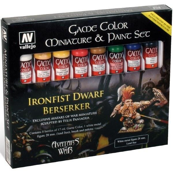 acrylicos vallejo av72211 Ironfist Dwarf Berserker Set Este estuche incluye 8 botellas de colores acrílicos Came Color, 1 figura en metal de 28mm