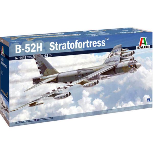 italeri 1442 B-52H Stratofortress 1/72 Kit en plástico para montar y pintar. Hoja de calcas con 3 decoraciones. Longitud del fuselaje: 664 mm Envergadura alar: 783 mm