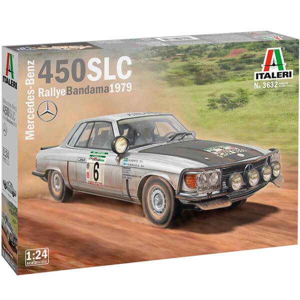 italeri 3632 Mercedes-Benz 450SLC Rallye Bandama 1979 1/24 Kit en plastico para montar y pintar. Hoja de calcas con 2 decoraciones: nº6 Ganador y nº4 Segundo.