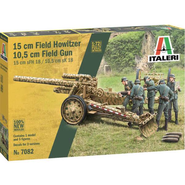 italeri 7082 15 cm Field Howitzer / 10,5 cm Field Gun 1/72 Kit en plástico para montar y pintar.