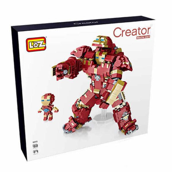 Loz 9045 Iron Man 2in1 2750 pcs Construye una figura de Iron Man y su armadura robótica con los bloques de montaje mas pequeños del mercado.