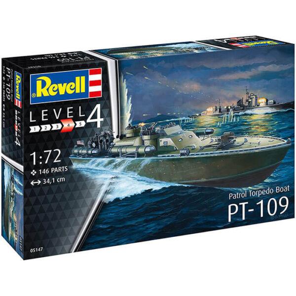 revell 05147 Patrol Torpedo Boat PT-109 1/72 Kit en plástico para montar y pintar. Incluye peana. Hoja de calcas con 2 decoraciones.