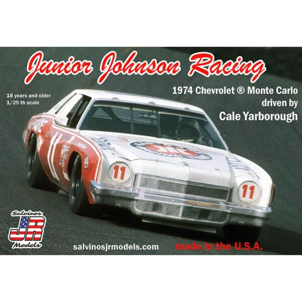 salvinos jr models JJMC1974B Junior Johnson Racing 1974 Chevrolet Monte Carlo 1/25 NASCAR 1974 Kit en plástico para montar y pintar. Incluye interior con jaula antivuelco, suspensión y motor V8 detallados.