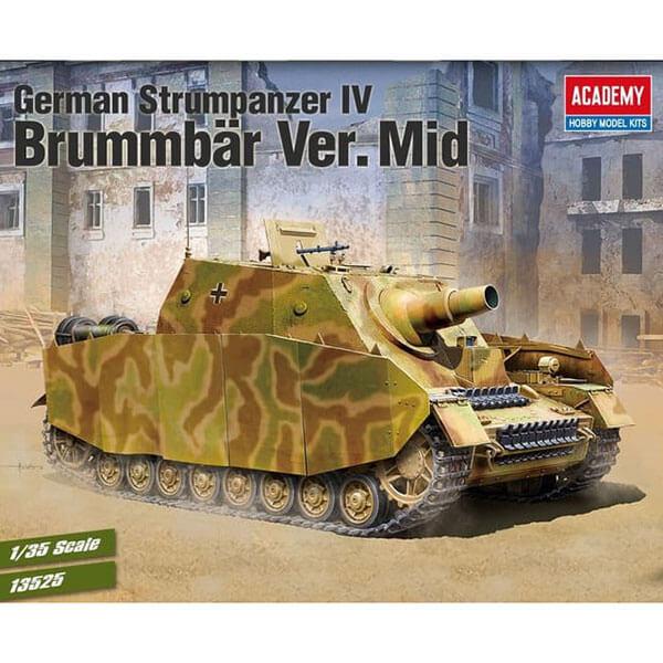 ACADEMY 13525 German Sturmpanzer IV Brummbär Ver. Mid. 1/35 Kit en plástico para montar y pintar. Incluye textura de zimmerit en lámina adhesiva.