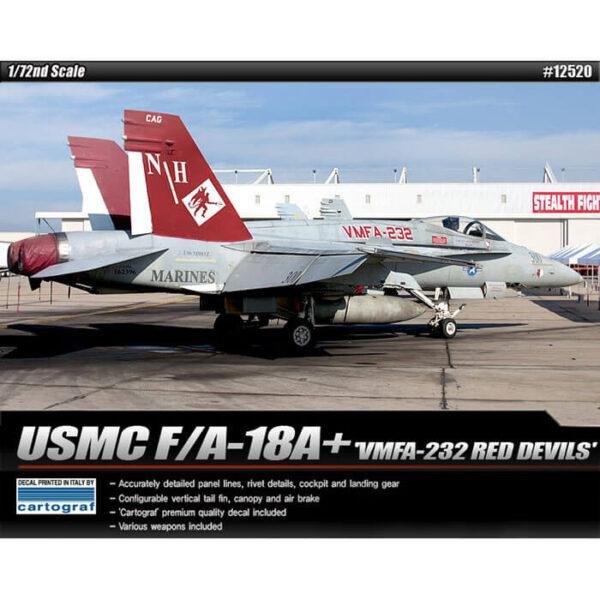 Academy 12520 USMC F/A-18A+ VMFA-232 RED DEVILS 1/72 Kit en plástico para montar y pintar.