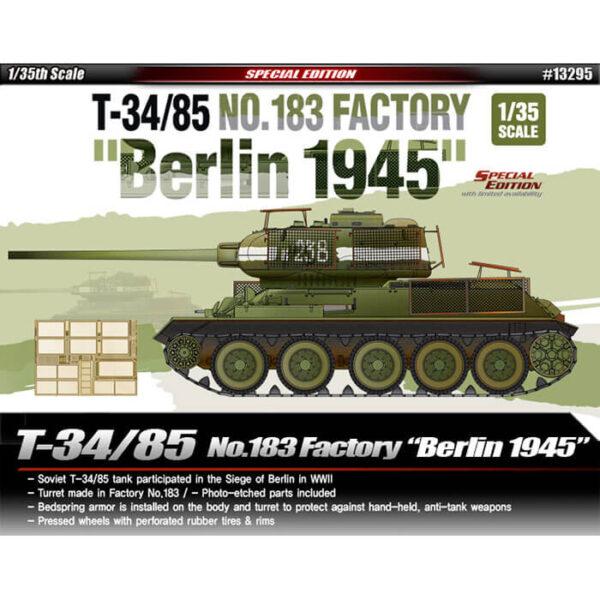 Academy 13295 T-34/85 No.183 Factory Berlin 1945 Kit en plástico para montar y pintar. Incluye piezas en fotograbado y cadenas por tramo y eslabón