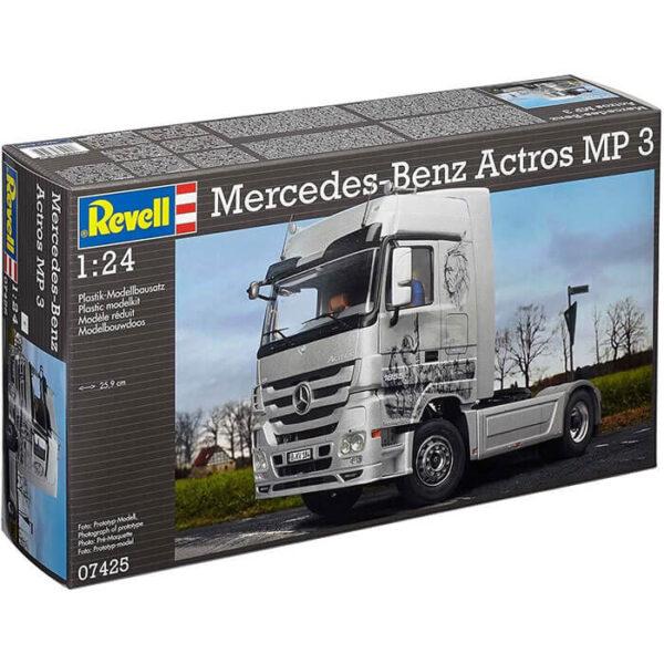 Revell 07425 Mercedes-Benz Actros Mp3 1/24 Kit en plástico para montar y pintar. Interior de cabina, motor y chasis detallados.