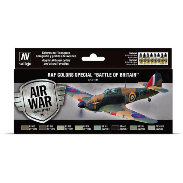 acrylicos vallejo AV71144 RAF colors special Battle of Britain Set de 8 colores Model Air de 17 ml para aerografía. Especialmente desarrollados para pintar los aviones de la RAF durante la Batalla de Inglaterra. Julio 1940 a mayo 1941. Incluye esquemas de color para los aviones.