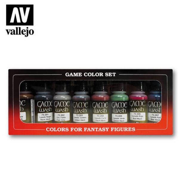 acrylicos vallejo AV73998 Game Color Effects Washes Lavados Set de 8 colores de lavados Game Color de 17 ml. Los lavados, formulados con una nueva resina, se utilizan para crear sombras y realizar aplicaciones de los colores por capas. Se pueden mezclar con colores y mediums de la gama Game Color.