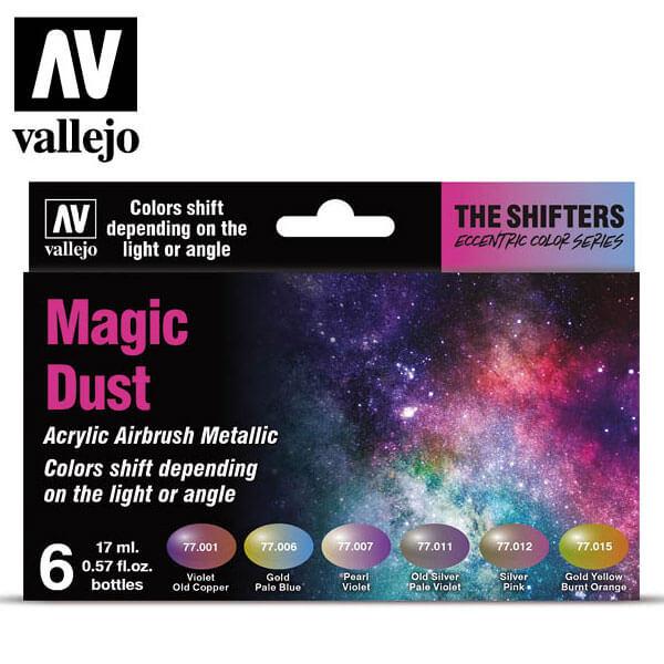 acrylicos vallejo AV77.090 The Shifter Magic Dust Eccentric Color Series Set de 6 colores acrílicos metalizados para aerografía de 17 ml. El set Magic Dust contiene colores de alto contraste cromático.