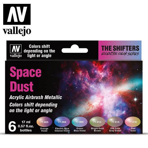acrylicos vallejo AV77091 The Shifter Space Dust Eccentric Color Series Set de 6 colores acrílicos metalizados para aerografía de 17 ml. El set Space Dust contiene colores cálidos con sutiles cambios cromáticos.