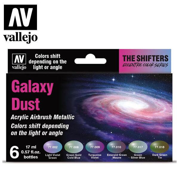 acrylicos vallejo AV77092 The Shifter Galaxy Dust Eccentric Color Series Set de 6 colores acrílicos metalizados para aerografía de 17 ml. El set Galaxy Dust contiene colores fríos con sutiles cambios cromáticos.
