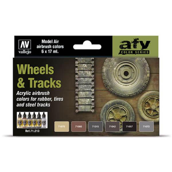 acrylicos vallejo AV71213 AFV Series Wheels & Tracks Set de 6 colores Model Air de 17 ml para aerografía. Especialmente desarrollados para pintar los neumáticos y las cadenas de metal de los vehículos militares.