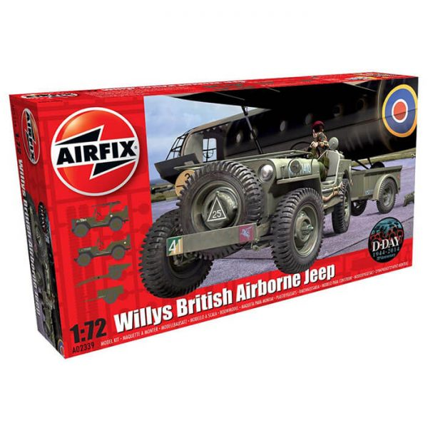 airfix a02339 Willys MB Jeep 1/72 Kit en plástico para montar y pintar. El kit incluye Willys MB Jeep, 10 CWT Airborne Trailer y 75mm Pack Howitzer M1.
