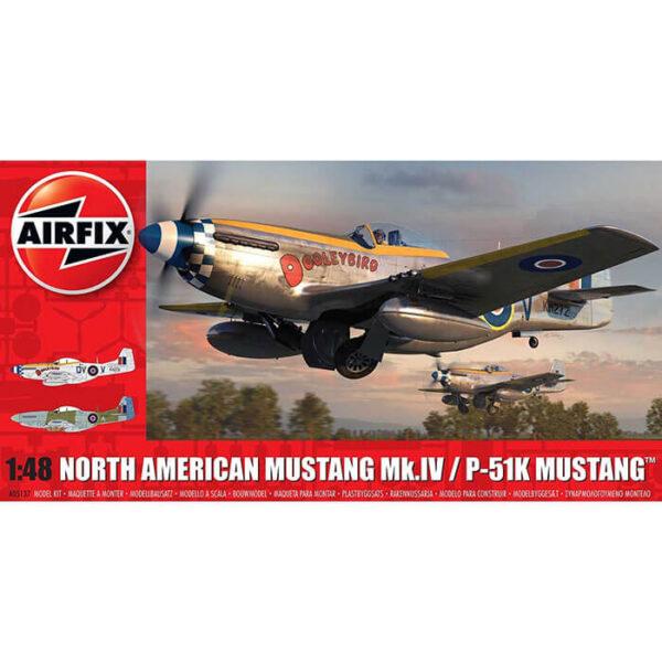 airfix a05137 North American Mustang Mk.IV/P-51K Mustang 1/48 Kit en plástico para montar y pintar. Hoja de calcas con 2 decoraciones.