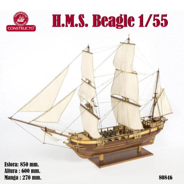 constructo 80846 HMS Beagle 1/55 Kit de construcción tradicional en madera, casco por cuadernas con doble forro.