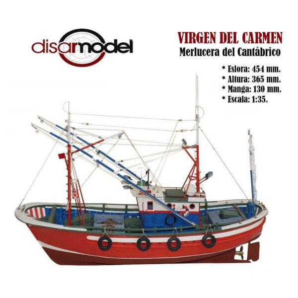 Virgen del Carmen, Merlucera del Cantábrico 1/35 Kit de modelismo naval de montaje tradicional de la clásica merlucera que podemos encontrar con pequeñas diferencias en los puertos del cantábrico.