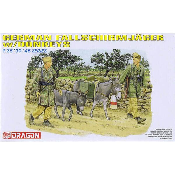 dragon 6077 German Fallschirmjager w/Donkeys 1/35 Kit en plástico para montar y pintar. Incluye 2 paracaidistas alemanes y 2 burros.