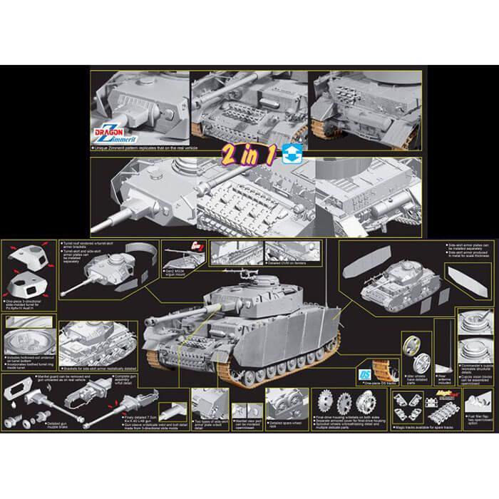 dragon 6933 Pz.Kpfw.IV Ausf.H Late Production w/Zimmerit 1/35 Kit en plástico para montar y pintar. Incluye piezas en fotograbado y schurzen del casco en metal.