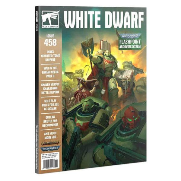 White Dwarf nº 458 revista en Inglés La revista White Dwarf esta centrada en el universo de los juegos de Games Workshop, Warhammer,Warhammer 40k, Age of Sigmar, Warhammer Underworld, etc.