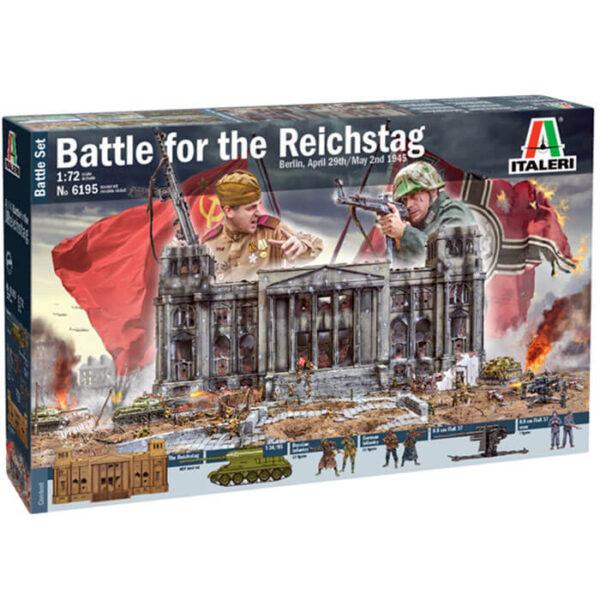 italeri 6195 Battle for the Reichstag 1945 Battle Set 1/72 Kit en plástico para montar y pintar. Contenido: Edifício del Reichstag en MDF. Infantería Alemanes: 32 figuras. 8.8 cm Flak 37 + Tripulación (7) Infantería Rusa 32 figuras. T35/85