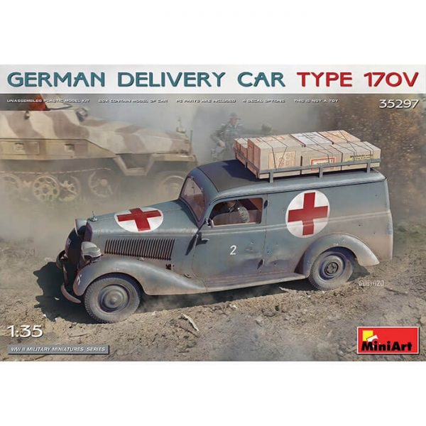 miniart 35297 German Delivery Car Type 170V 1/35 Kit en plástico para montar y pintar. Todas las puertas se pueden colocar abiertas y cerradas. Incluye piezas en fotograbado y cajas impresas en papel.