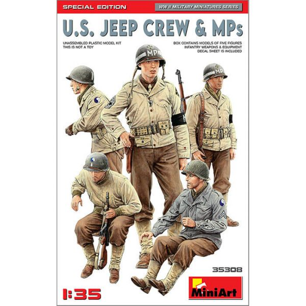miniart 35308 U.S. Jeep Crew & MPs 1/35 WWII Military Miniatures Series Kit en plástico para montar y pintar.