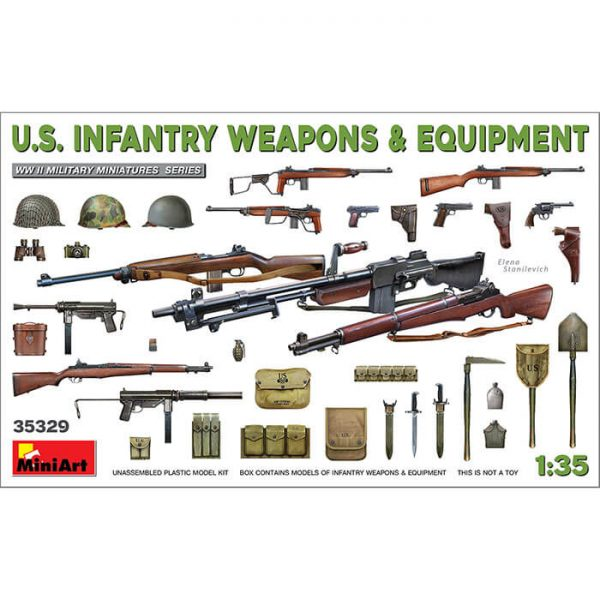 miniart 35329 U.S. Infantry Weapons & Equipment 1/35 WW II Military Miniatures Kit en plástico para montar y pintar. Incluye distintos tipos de armas y equipo de la infantería americana durante la 2ª GM.