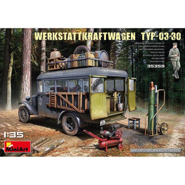 miniart 35359 WERKSTATTKRAFTWAGEN TYP-03-30 1/35 Kit en plástico para montar y pintar. Todas las puertas se pueden colocar abiertas y cerradas. Incluye piezas en fotograbado y hoja de calcomanías.