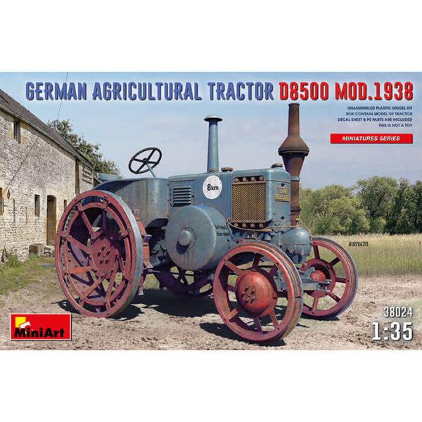 miniart 38024 German Agricultural Tractor D8500 Mod. 1938 1/35 Kit en plástico para montar y pintar un tractor agrícola alemán de los años 30. Incluye piezas en fotograbado y hoja de calcomanías.