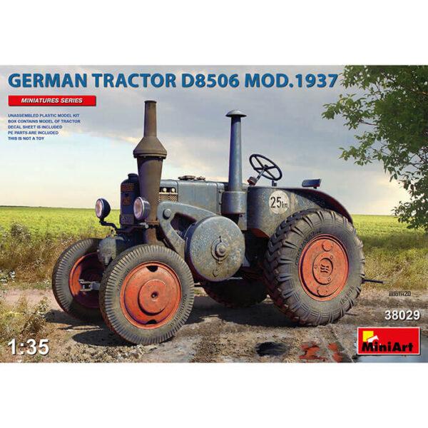 miniart 38029 German Tractor D8506 Mod. 1937 1/35 Kit en plástico para montar y pintar un tractor agrícola alemán de los años 30. Incluye piezas en fotograbado y hoja de calcomanías.