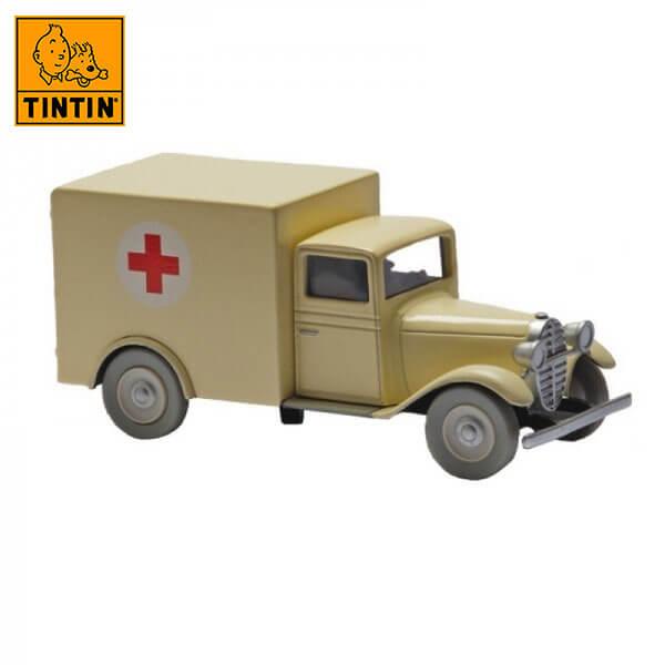 tintin 29519 Ambulancia del asilo -Tintin en Los Cigarros del Faraón Tintin in the cars Coche de colección en metal, incluye figura de personaje.