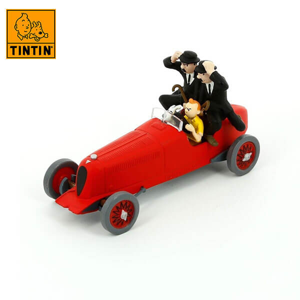 tintin 29508 The Red Bolide Amilcar -Tintin en Los cigarros del faraón Tintin in the cars Coche de colección en metal, incluye figura de personaje.