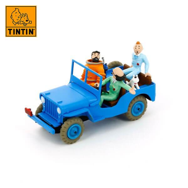 tintin 29509 Blue jeep -Tintin en Destino la Luna Tintin in the cars Coche de colección en metal, incluye figura de personaje.