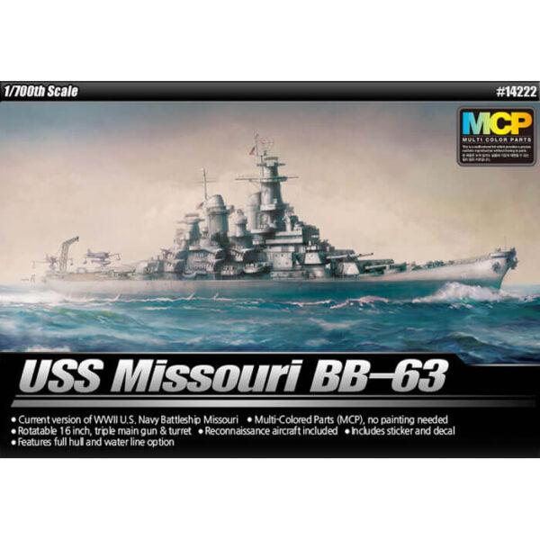 academy 14222 USS Missouri BB-63 1/700 Kit en plástico para montar y pintar el acorazado de la clase Iowa en la versión de la 2ª Guerra Mundial.