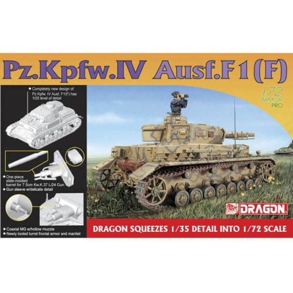 dragon 7321 Pz.Kpfw.IV Ausf.F1(F) 1/72 Kit en plástico para montar y pintar. Hoja de calcas con 7 decoraciones.
