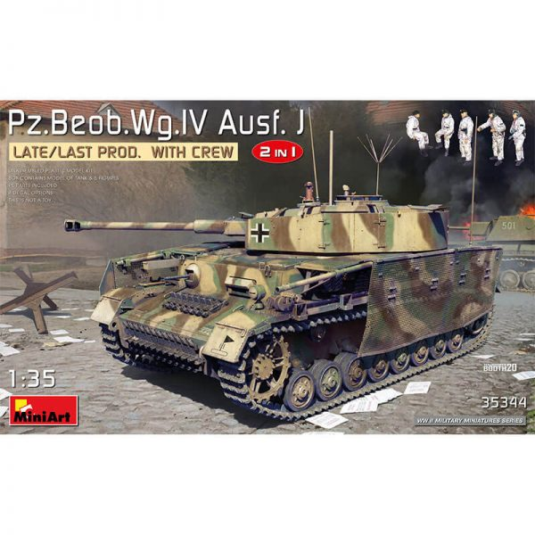 miniart 35344 Pz.Beob.Wg.IV Ausf. J Late/Last Prod. 2 IN 1 with Crew Military Miniatures Series Kit en plástico para montar y pintar.