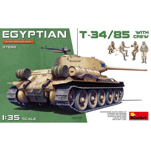 miniart 37098 Egyptian T-34/85 with crew Kit en plástico para montar y pintar. Incluye 4 figuras de tripulación.