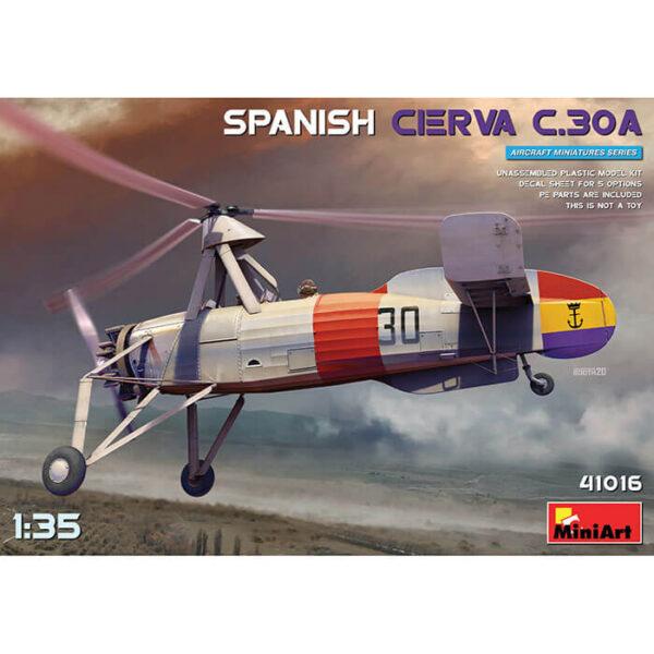 miniart 41016 AUTOGIRO SPANISH CIERVA C.30A 1/35 Kit en plástico para montar y pintar. Incluye piezas en fotograbado. Hoja de calcas con 5 decoraciones de la 2ª República Española