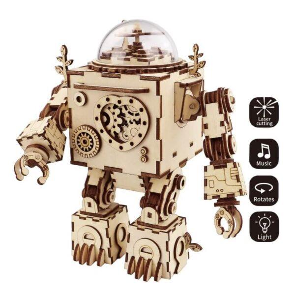 AM601 Orpheus Caja de música Disfruta con el montaje de esta caja de música con forma de robot en un estilo steampunk mecánico.