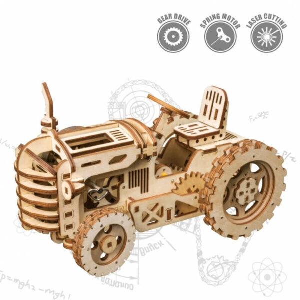 rokr lk401 Tractor a cuerda Maqueta 3D de madera de montaje sin pegamento, y con movimiento a cuerda.